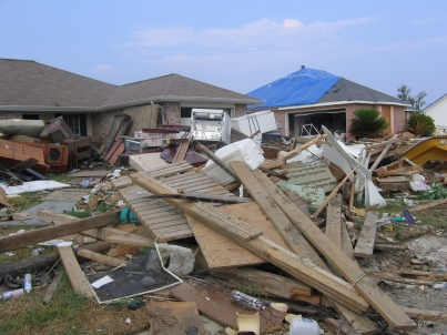 Houses in Slidell, Louisiana damaged by Hurricane Katrina (photo by Liz Ashe Havrilla, Flickr Creative Commons, uploaded March 11, 2008)