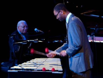 Jason Marsalis playing vibes with his father, Ellis, Jr., on piano (photo courtesy of Jason Marsalis)