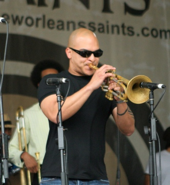 "Trumpeter Irvin Mayfield performing in the ""Wednesday in the Square"" concert series in New Orleans on April 27, 2011 (photo by robbiesaurus, Flickr Creative Commons)"