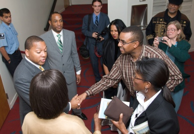 Trumpeter Wynton Marsalis (left) being greeted by fans after a Jazz at Lincoln Center Orchestra concert on Oct. 9, 2008 (photo by Penn State, Flickr Creative Commons)
