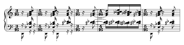 "Excerpt from the piano transcription of Igor Stravinsky's groundbreaking 1913 piece ""Le Sacre de Temps"" (""The Rite of Spring"") (public domain photo from Wikipedia)"