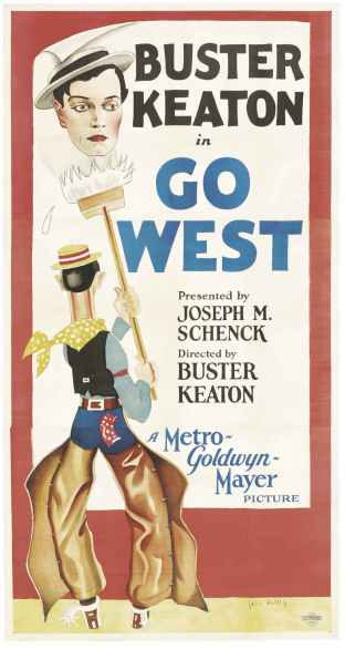 "Poster for the 1925 silent film ""Go West,"" starring Buster Keaton (1895-1966) and also directed and co-produced by him (public domain photo from Wikimedia Commons)"