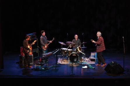 (L to R) Greg Leisz on guitar, Tony Scherr on bass, Kenny Wollesen on drums and Bill Frisell (photo by Pat Moore)