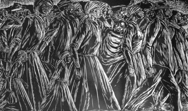 "A woodcut in the ""Immigrant Series"" by Maxwell Taylor (photo courtesy of Maxwell and Therese Taylor)"