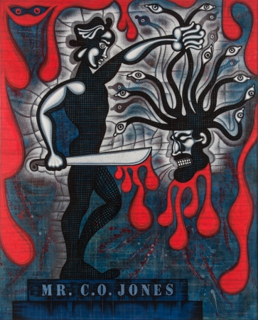 """Mr. C. O. Jones"" by Carlos Luna (mixed media on wood, 59"" x 47"") ©2012 Carlos Luna. All Rights Reserved."