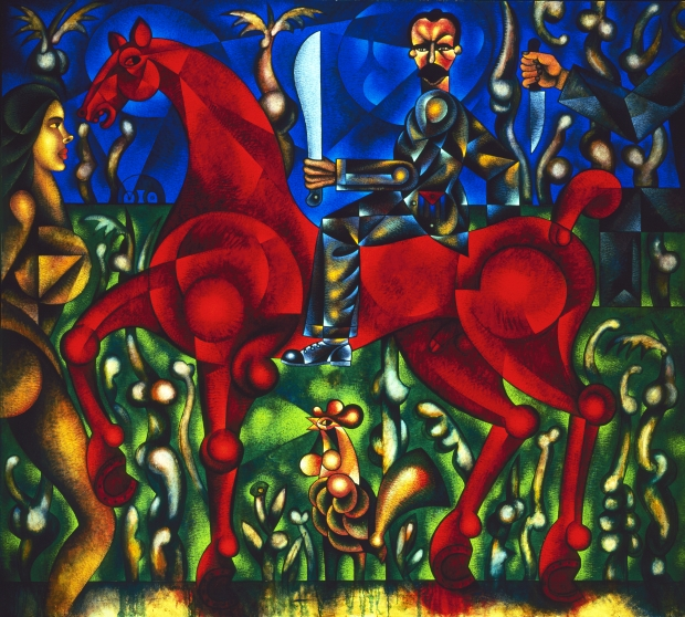 """The Apostle Decides to Immigrate"" by Carlos Luna (oil on canvas, 58 1/2"" x 78"") ©1996 Carlos Luna. All Rights Reserved."