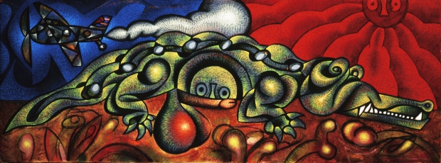 "Carlos Luna's painting ""The Island's Eggs"" (17 1/2"" x 47"") ©1997 Carlos Luna. All Rights Reserved."