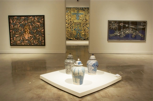Carlos Luna's paintings on display with the ceramics of Picasso at the Museum of Art in Fort Lauderdale, Florida in 2008