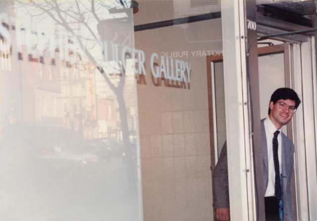 Stephen Bulger at his gallery on opening day, Thursday, March 23, 1995 at its original location, 700 Queen Street West) (© Dr. Dermot McCarthy)