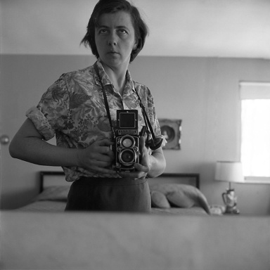"""Highland Park, IL (Self-Portrait, Bedroom Mirror),"" January 1965, by street photographer Vivian Maier (1926-2009), who was discovered after her death ( © Vivian Maier, Stephen Bulger Gallery Collection)"