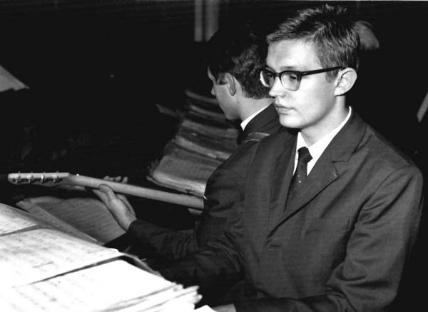 Emil Viklický as a teen in the mid-'60s playing piano in his school's big band dance band