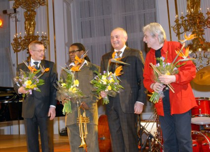 Emil Viklický, trumpet player Marcus Printup, bassist František Uhlíř and drummer Laco Tropp after a live, recorded performance at Prague Castle on February 26, 2007