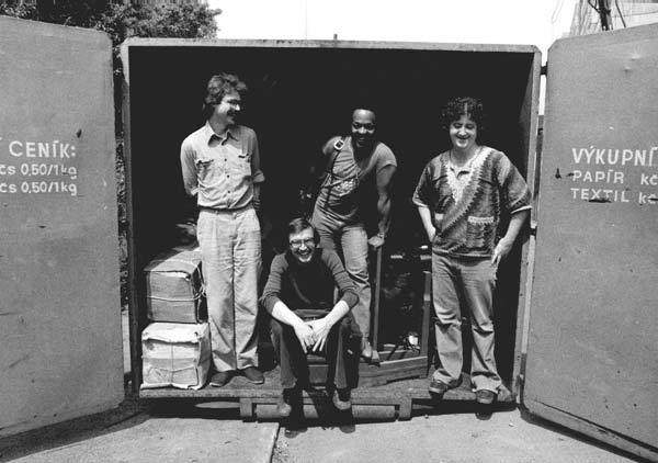 "Emil Viklický (seated) with guitarist Bill Frisell , drummer Vinnie Johnson and bassist Kermit Driscoll (L to R) in 1979 while recording the 1979 Supraphon jazz-rock CD ""Okno"" (later retitled ""Window and Door"")"