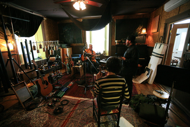 "Cockburn in the recording studio in 2010 for the album ""Small Source of Comfort"" (photo by Daniel Keebler)"