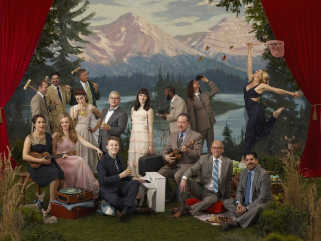"Pink Martini in a photo shoot for their album ""Dream a Little Dream"" (2014), which features members of the von Trapp family (photo by Chris Hornbecker)"