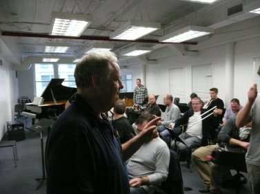 Kenny Werner at a Brussels Jazz Orchestra rehearsal before a performance at New York's Dizzy's Club Coca-Cola in October 2010