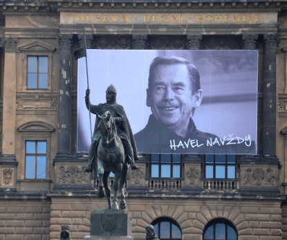 Photo of writer and statesman Václav Havel in Wenceslas Square, Prague. Havel was president of Czechoslovakia (1989-1992) and the Czech Republic (1993-2003) (public domain photo by David Sedlecký, October 24, 2014)
