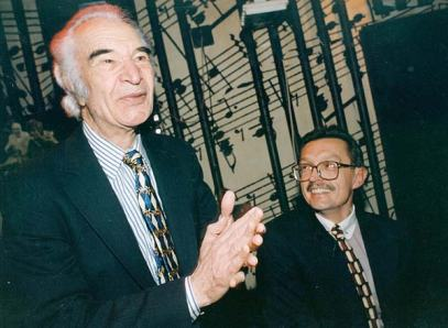Dave Brubeck with Emil Viklický at the Reduta Jazz Club in Prague in 1997