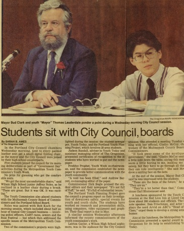 "Thomas Lauderdale as a high school student at a City Council meeting with Portland Mayor Bud Clark on ""Government Day"" (photo courtesy of Thomas Lauderdale and Heinz Records)"