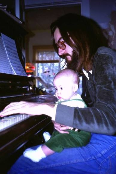 Emilie-Claire Barlow as a baby at the piano with her musician father, Brian Barlow (photo courtesy of Emilie-Claire Barlow)