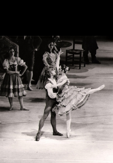 Cynthia Harvey dancing with Mikhail Baryshnikov in an American Ballet Theatre production of Don Quixote (photo by MIRA, American Ballet Theatre)