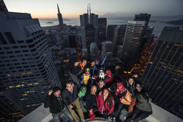 "Benjamin Von Wong and his collaborators in his ""Superheroes on Skyscrapers"" shoot in San Francisco (photo courtesy of Benjamin Von Wong)"