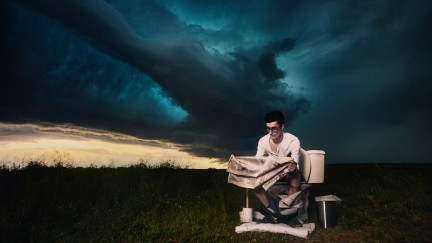 """Climate change doesn't care what's on the news"" from Stormchasing Portraits by Benjamin Von Wong (courtesy of Benjamin Von Wong)"