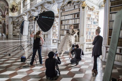 Benjamin Von Wong in a photo shoot at Stift Admont (Admont Abbey) in Austria (photo by Eva Creel)