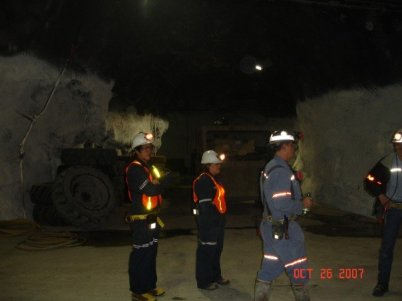 Benjamin Von Wong (left) in 2007 visiting a mine (photo courtesy of Benjamin Von Wong)