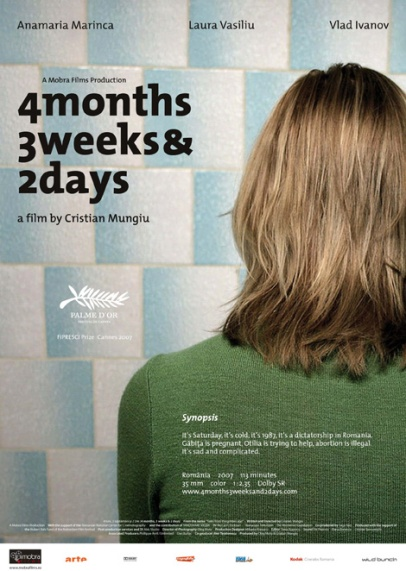 Poster for Mungiu's 2007 Palme d'Or-winning film 4 Months, 3 Weeks and 2 Days