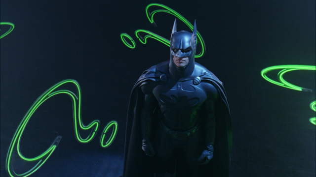 Batman against a background of neon created by Lisa Schulte and her company Nights of Neon (photo courtesy of Lisa Schulte)