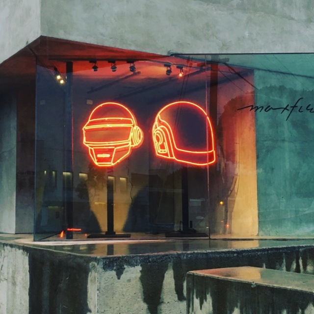 Neon helmet signs created by Lisa Schulte and her company Nights of Neon for a Daft Punk pop-up store at Maxfield's in February 2017 (photo courtesy of Lisa Schulte)