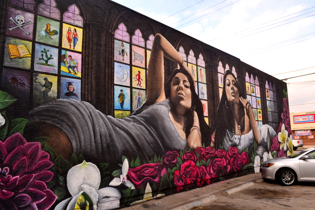 """""""Pacaoima Neighborhood Mural,"""" painted by Levi Ponce in 2013 (photo by upinthevalley.org)"""