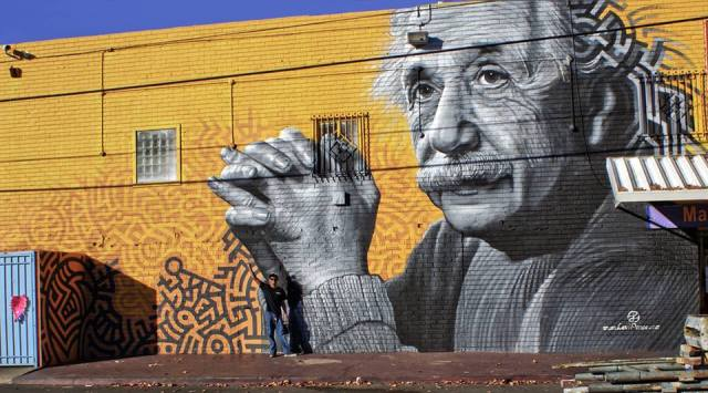 """Logic and Imagination,"" a mural portraying Einstein by Levi Ponce painted in December 2013 (photo by Chloe Cumbow)"