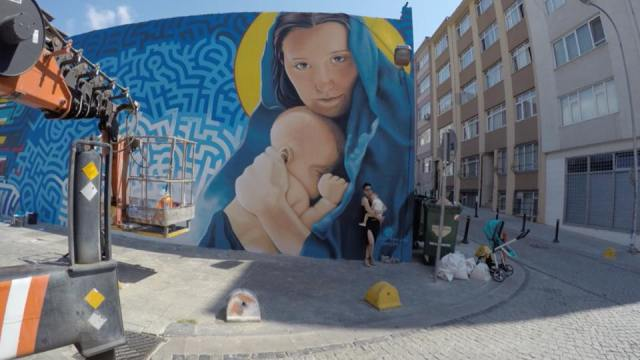 """Mother and Child,"" painted by Levi Ponce and Kristy Sandoval in Istanbul, Turkey in 2015 (photo courtesy of Levi Ponce)"