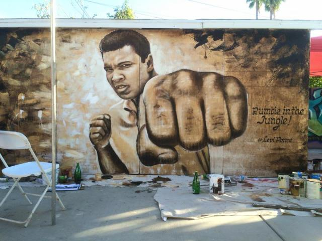 Levi Ponce's mural of boxer Muhammad Ali (photo by Javier Martinez)