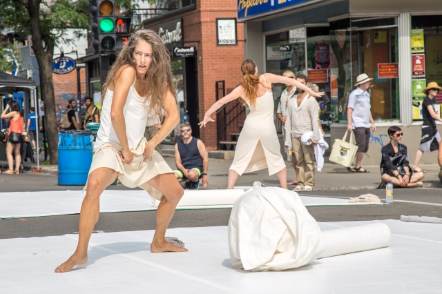 "Members of La Compagnie Marie Chouinard performing ""In Museum V2"" on Mount Royal Avenue in Montreal (photo by Stéphane Pilon)"