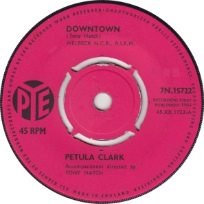 "A-side label of the 1964 hit ""Downtown,"" written by Tony Hatch and sung by Petula Clark (public domain photo)"