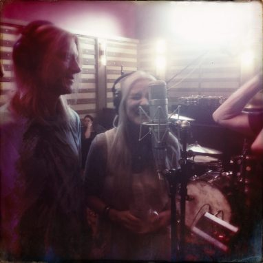 "Sass Jordan with her husband Derek Sharp recording ""Racine Revisited"" in 2017 at ACL Studios in Calgary (photo courtesy of Sass Jordan)"