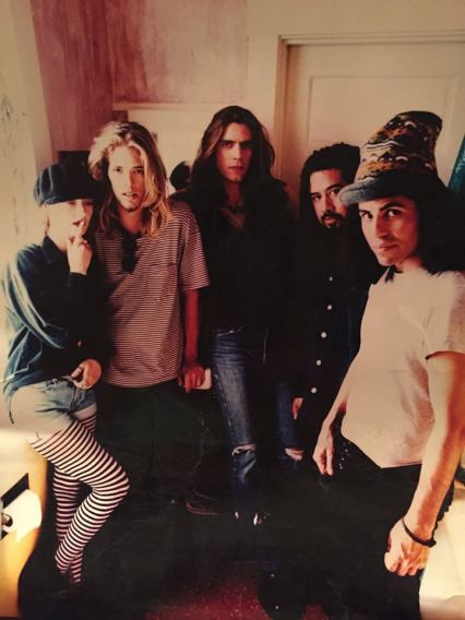 Sass Jordan with her band in 1994: (L to R) Taylor Hawkins, Nick Lashley, Tony Reyes and Stevie Salas (photo courtesy of Sass Jordan)