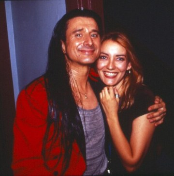"Singer/songwriter Steve Perry with Sass Jordan, who opened for him, during the ""Love of Strange Medicine"" tour in 1994 (photo courtesy of Sass Jordan)"