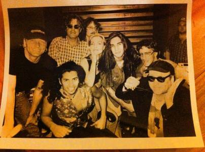Sass Jordan in the recording studio in the early '90s with Matt Sorum, Tom Petersson, Stevie Salas (front, 2nd from left), Brian Tichy, and Rick Neilson (photo courtesy of Sass Jordan)