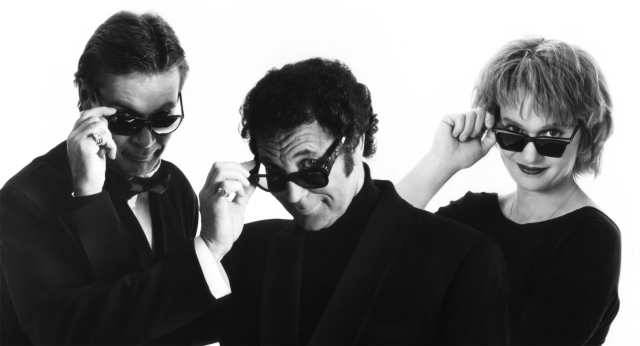"""Anne Dudley and J. J. Jeczalik of the Art of Noise with Tom Jones (centre), who recorded the hit single """"Kiss"""" with the band in 1987 (photo courtesy of Anne Dudley)"""