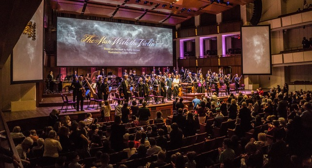 World premiere of the multi-media work The Man with the Violin, featuring music by Anne Dudley, at the Kennedy Centre in Washington, D.C. on Feb. 12, 2017 (photo courtesy of Normal Studio)