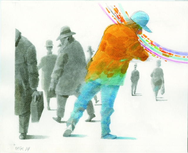 Working image from the multi-media production of The Man with the Violin featuring animation by Normal Studio of Dusan Petricic's illustrations from the 2013 book (photo courtesy of Normal Studio)