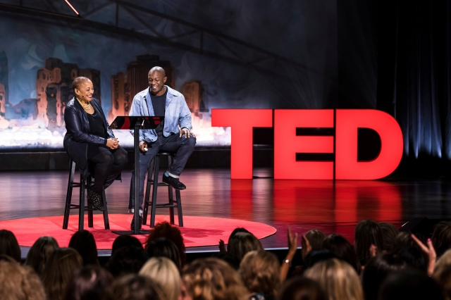 Deborah Willis (Thomas' mother) and Hank Willis Thomas speak at TEDWomen 2017 — Bridges at the Orpheum Theatre in New Orleans, Louisiana (photo by Stacie McChesney/TED, Flickr Creative Commons)