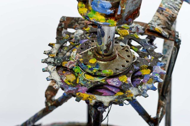 The repurposed bicycle crank used by Callen Schaub to spin his paintings (photo by Collateral Photography - Spencer Robertson)