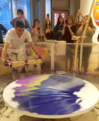 Callen Schaub using the spinner and paint trough he built himself to create paintings live at The Sussex Contemporary gallery on April 15, 2018 (photo by Anita Malhotra)