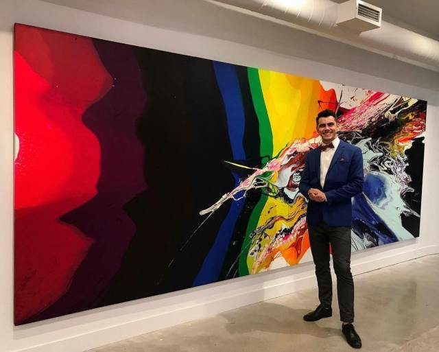 """Callen Schaub at his show """"Energy"""" at Project Gallery in 2017 (photo by Shari Orenstein)"""
