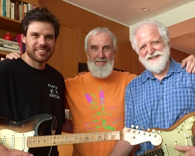 Afie Jurvanen (known as Bahamas) in the studio with Fred Penner and producer Ken Whiteley (R) (photo courtesy of Fred Penner)